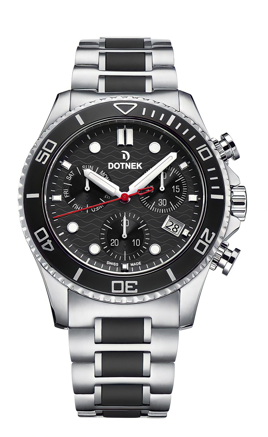 DOTNEK Drift-Master Swiss-Made Chronograph Watch for Men, Stainless Steel Black dial Luxury Watch with Stainless Steel Bracelet