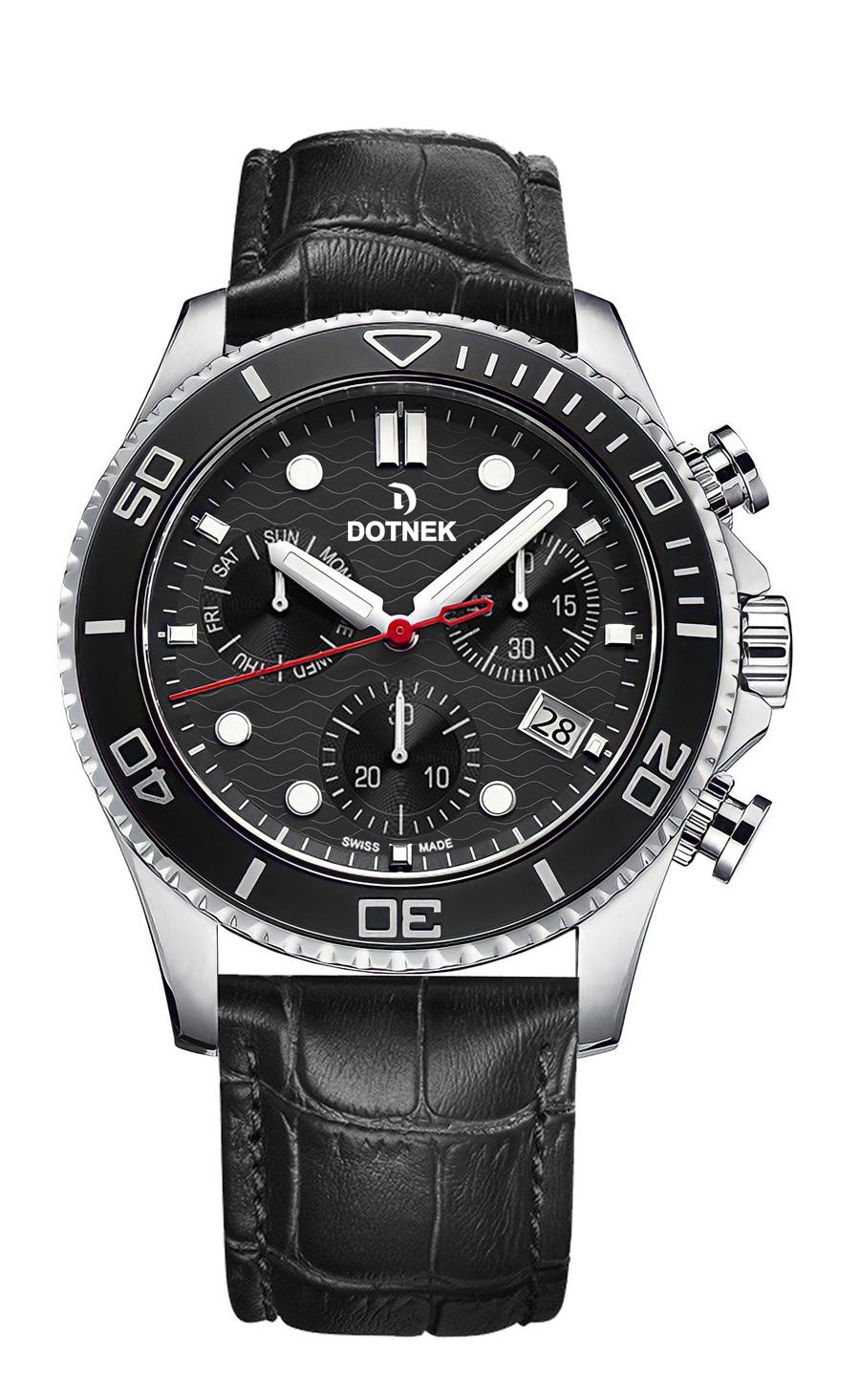 DOTNEK Drift-Master, Swiss chronograph men's watches, leather aligator strap